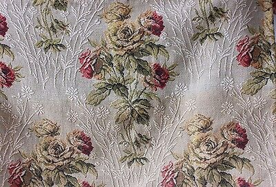 Antique French c1915-20 Rose Woven Heavy Cotton Jacquard Tapestry Valance Fabric