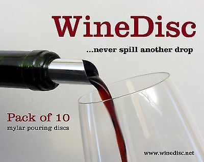 The Original Wine Disc - Drop Stopping Pour Spout (10-pack) Free Ship from USA