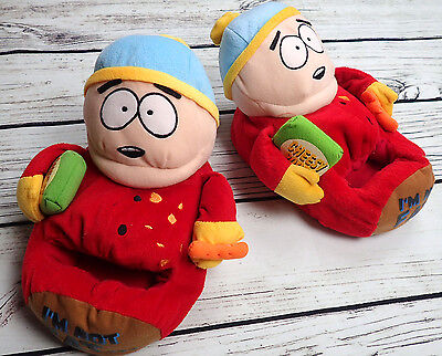 "SOUTH PARK 7-8 Cartman Adult Plush Slippers House Shoes ""I'm Not Fat..."" S 6-7"