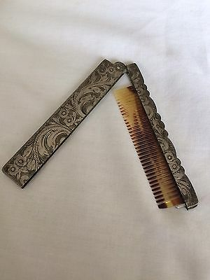 Vintage 800 Silver Folding Comb with Celluloid Teeth