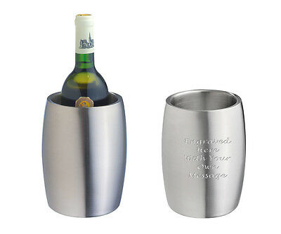 Personalised Brushed Steel Double Wall Wine Bottle Cooler - Engraved