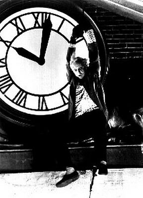 Back To The Future Movie Still of the Doc with Lighting Cable on Clock Tower Hig