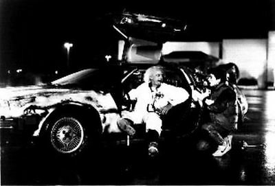 Back To The Future Doc and Marty in Front of the Delorean Discussing Time Travel
