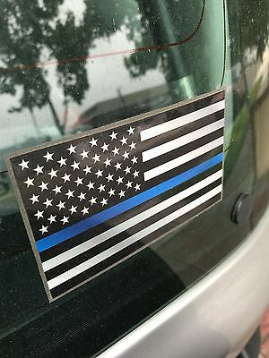 Thin Blue Line Flag Decal - 3x5 in. Black White and Blue American Flag Sticker