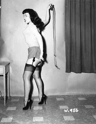 Bettie Page Posed in Sweater High Quality Photo