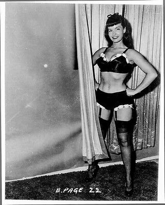 Bettie Page standing in Lingerie High Quality Photo