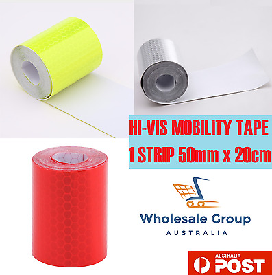 HI VIS WHITE FLURO RED ADHESIVE REFLECTIVE SAFETY MOBILITY TAPE 20cm STRIP