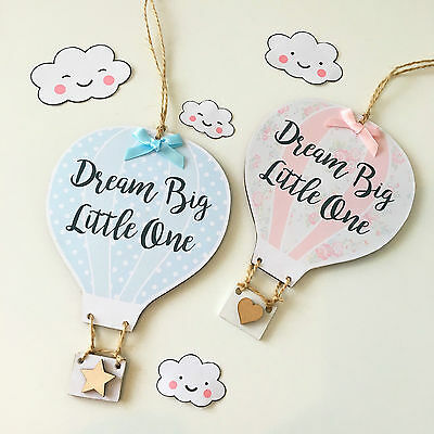 Handmade Personalised Hot Air Balloon Plaque Sign New Baby Nursey Gift Quote