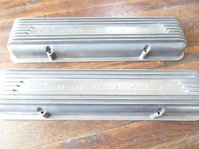 1957-58 corvette aluminum 9 fin Valve covers original Fuel injection Hoover MFG
