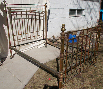 Antique Turn of the Century Brass Double (Full) Bed W/ Blanket Rack ~ ORIGINAL