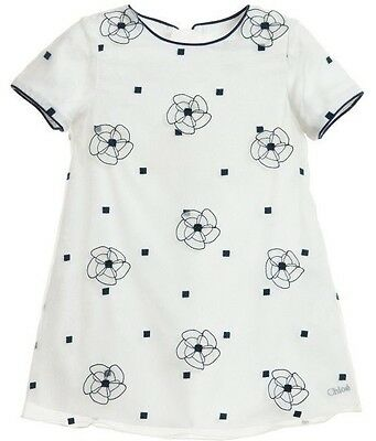 Chloe Baby White And Blue Floral Silk Organza Dress 2 Years