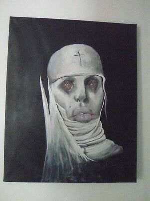 Nun hand painted, abstract art 16x20 canvas wall decor