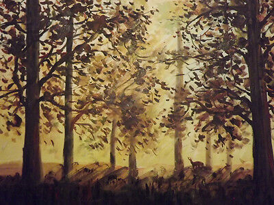 Forest Woods Trees Large Oil Painting Canvas Dark Brown