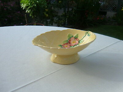 Vintage Carlton Ware 'wild Rose' Small Footed Hand Painted Dish Circa 1939-45