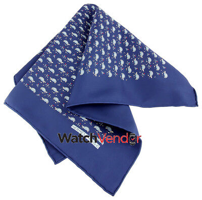 Hermes Blue Silk Turtle Handkerchief 857388T