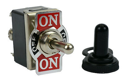 TEMCo 20A 125V (ON)-OFF-(ON) DPDT 6 Terminal Toggle Switch Momentary With Boot