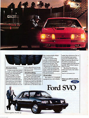 1984 Ford Mustang SVO Original  Magazine Ad Have You Driven a Ford Lately? Turbo