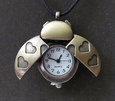 Lady Bug Necklace Watch Antique Gold Metal Black Leather Cord 20 Inches