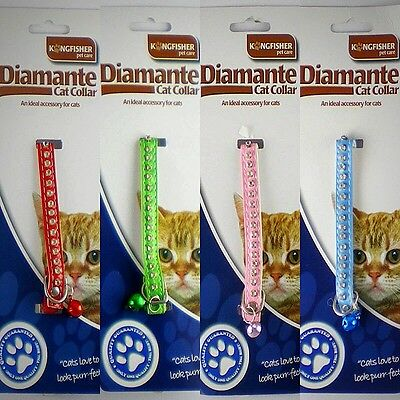 Cat Kitten Collar Diamante Stones Safety Elastic Elasticated  Bell Bling