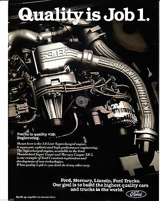 1989 Ford 3.8 Liter Supercharged Engine Original Magazine Ad Mercury Cougar XR-7