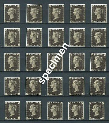 Stamps GB Victoria Penny 1d Black printed by Enschede1990 No wmk, gummed, MNH
