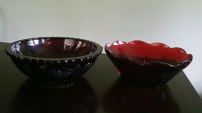 """2 Avon Cape Cod 1876 Ruby Red Glass 8"""" Serving Bowl"""