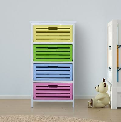 Childrens Chest of Drawers 4 Multi Colour Storage Baskets Kids Tidy Bedroom Unit