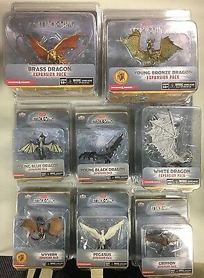 D&D ATTACK WING Lot 8 figures NEW DRAGONS, WYVERN, GRIFFON, PEGASUS, sealed