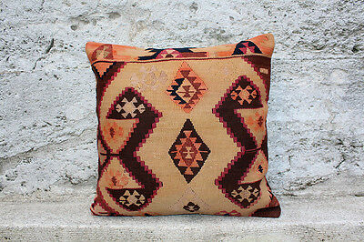 "Handmade Kilim PILLOW CUSHION COVER - Kilim Rug Anatolian Turkish 18"" x 18"""