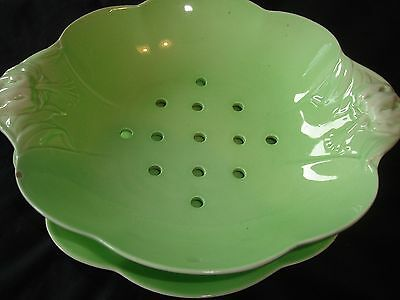 Royal Winton Green Cabbage Strainer And Stand
