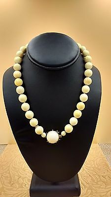 Antique Bovine Bone Bead Necklace with 14k Gold & Coral Pendent, Old Beauty!