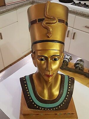 "Egyptian 15.5"" Large Queen Nefertiti cast Sculptural  Bust Statue head Cleopatra"