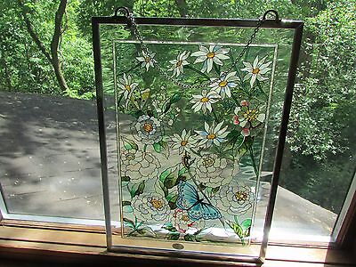 "Amia stained glass window panel 11.5"" X 15.5"" - Flowers and Butterflies"