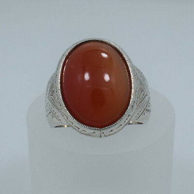 .925 Sterling Silver Ring Set with 1-26x21mm Carnelian Agate Size 12