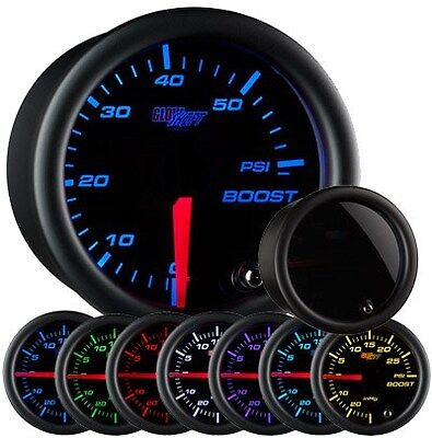 GLOW SHIFT Tinted 7 Color 60 PSI Boost Gauge GS-T701_60 SMOKED FACE