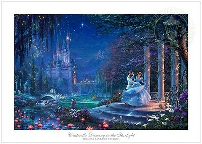 Thomas Kinkade Disney Cinderella Dancing in the Starlight 18 x 27 S/N LE Paper