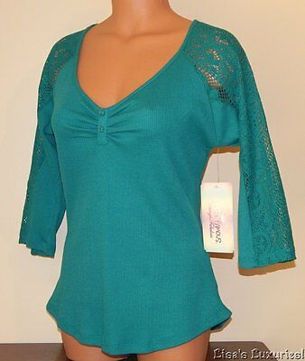 ALMOST FAMOUS Junior's L. Shirt Waffle Fabric Lace Sleeve NWT $28