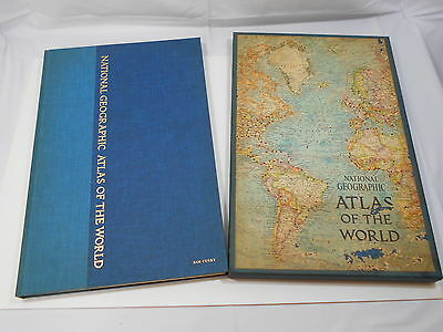 Vintage 1963 Large National Geographic Atlas Of The World with Slipcover Box