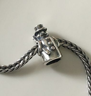 Authentic Trollbeads Sterling Silver 11327 Snowman 1 RETIRED