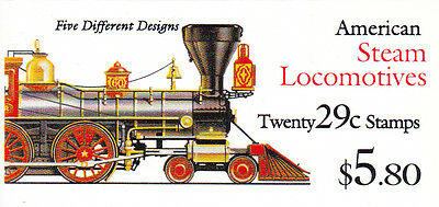U.S. BKLT OF 20 SCOTT#BK216 1994 29ct STEAM  LOCOMOTIVES MINT P#S11111 AT FACE