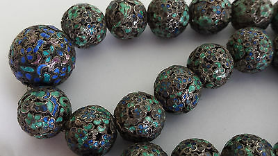 Antique Qing Chinese ? Khecheong Sterling Silver Enamel Filigree Bead Necklace