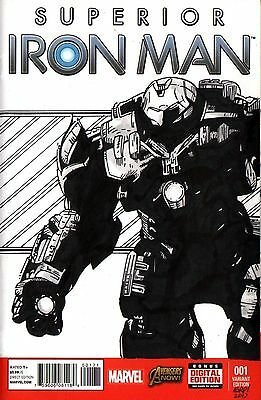 Iron Man Hulk Buster Armor Original Art Sketch Cover Superior Iron Man #1