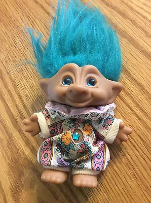 "Ace Novelty Troll Doll Turquoise Hair & Treasure Jewel Belly 4"" Original 90's"