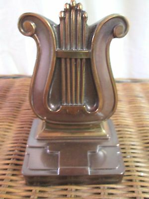 Vintage 1950's Pmc Spelter Brass Harp Lyre Bookend   Quick Shipper