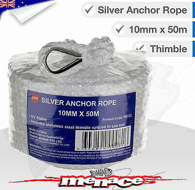 ANCHOR ROPE Boat Mooring Line 10mm braid x 50m stainless steel thimble