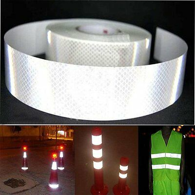 "2""X10' 3M Silver White Reflective Safety Warning Conspicuity Tape Film Sticker P"