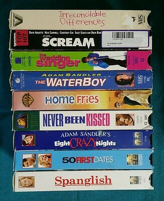 Lot of 9 VHS - Drew Barrymore - Adam Sandler - Comedy Drama Romance Slasher