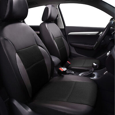 Full black PU Leather Auto Seat Covers Full Synthetic Set 2 Front Seat Covers