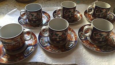 Vintage 1980's set of La S. Marco Small coffee cup set -6 cups/6 saucers