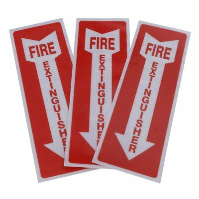 """3x""""FIRE EXTINGUISHER"""" Sticker Reflective Safety Arrow Sign Direction Decal Label"""